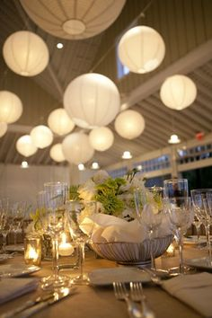hanging  paper lanterns wedding reception decor ideas 2014 #elegantweddinginvites