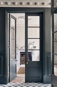 Photo location: ANDERS HOUSE, SE22 | Light Locations Home Design Decor, House Design, Home Decor, Crittal Doors, Bay Window Living Room, Kensington House, Tongue And Groove Walls, Internal Double Doors, Open Plan Kitchen Dining