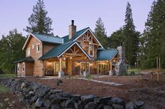 Located on 20 acres of forested land in Washington state, Joan Hurst and Terry Gentry's home has the warm, welcoming air of a country lodge.