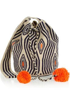 Sophie Anderson Nataly woven cotton bucket bag - can't resist the pom poms!