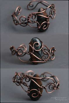 I make a wirework pieces from time to time. This bracelet is made as a birthday gift for my friend Mar'ra. Copper wire, hawk's eye gemstone, liver of sulfur patina, zaponlack.