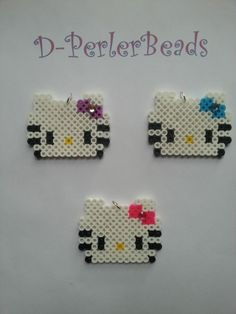 Kitty Pearler Bead Patterns, Perler Patterns, Pearler Beads, Fusion Beads, Diy And Crafts, Arts And Crafts, Bead Art, Beading Patterns, Pixel Art