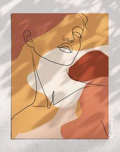 Single Line Art, Female Burnt Orange Print, One Line Drawing, Printable Boho Print, Woman Face Drawi