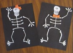 Super Cute Skeleton Craft made out of Q-Tips