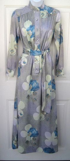 Vintage 1970's Henry Lee Silky Gray Blue Floral Maxi Dress Rhinestone Buttons 8 #HenryLee