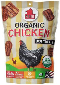 Plato All-natural, responsibly-sourced organic chicken dog-treats from the sunny California USA Demand responsibly-sourced ingredients