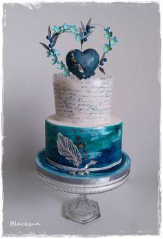 Blue heart - cake by Blacksun Beautiful Wedding Cakes, Beautiful Cakes, Amazing Cakes, Pretty Cakes, Cute Cakes, Wedding Cake Centerpieces, Fresh Flower Cake, Cake Tasting, Cake Decorating Techniques