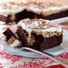 Chocolate Peanut Butter Bourbon Pudding Poke Cake