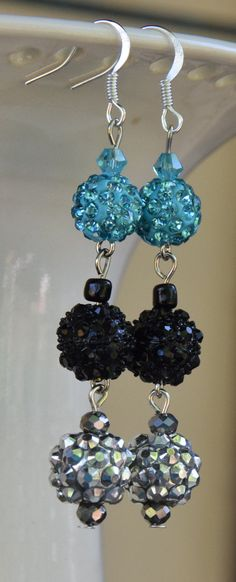 Teal Blue, Silver, and Black Rhinestones Pave Clay Disco Bead Dangle Earrings.  Teal, Silver, Black Pave Rhinestone Disco Earrings.