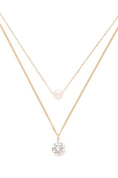 Faux Pearl Layered Necklace - FOREVER 21