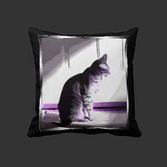Cat Sitting In Sun with purple, via Flamin Cat Designs at Zazzle.