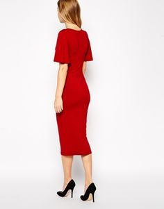 Enlarge ASOS TALL Exclusive Frill Sleeve Midi Bodycon Dress