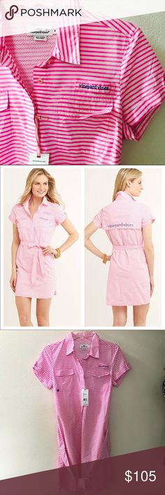 Vineyard Vines Fishing/Boating Dress Netting detail as pictured 🌼 fishing/boating dress wear 🌼 NWT🌼 cute pink and white striped 🌼 model is wearing the same dress for reference 🌼about 35 inches in length 🌼 size 4 🌼 super cute for summertime 🌼 Vineyard Vines Dresses