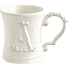 Pier 1 Imports White Elizabeth Monogram Mug ($7.95) ❤ liked on Polyvore featuring home, kitchen & dining, drinkware, white, monogram mug, pier 1 imports and white mugs