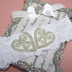 Vintage Double Heart Applique Lace Garter Set - Handmade Lace Bridal Garters with Vintage Flair