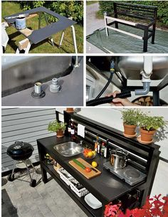 Outdoor Kitchen Patio, Outdoor Sinks, Outdoor Oven, Outside Patio, Backyard Patio, Outdoor Living, Outdoor Decor, Outdoor Barbeque Area, Bbq Shed