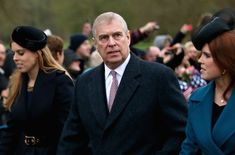 zimbio: Duke of York with his daughters Princess Beatrice and Princess Eugenie, December 25, 2015