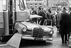 Crash between tram and Mercedes, Amsterdam 1964