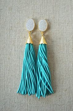 White Druzy Teal Beaded Tassel Earrings