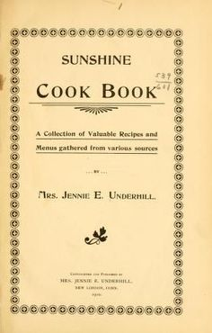 Sunshine cook book; a collection of valuable re...