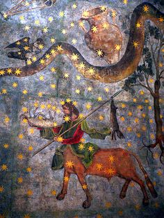 "Centaur and Hydra - fragment of ""The Sky of Salamanca"", ceiling mural painted by Fernando Gallego in 1473 for the vault of Salamanca University's library. #astrology #fresco #zodiac"