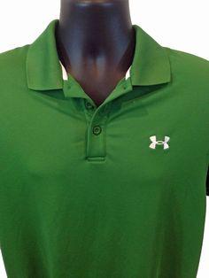 UNDER ARMOUR Heatgear LOOSE Men's POLO Shirt Size MEDIUM GREEN M Short Sleeve #ebaydeals #shopping #UnderArmour