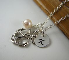 Anchor pendant - memory of son's 1st bday, add birthstone and initial charm