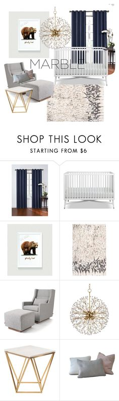"""""""A Sophisticated Marble Accent Nursery"""" by ideaprints ❤ liked on Polyvore featuring interior, interiors, interior design, home, home decor, interior decorating, Eclipse, Gus* Modern, Hudson Valley Lighting and Nuevo"""