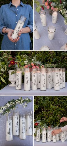 Mmm.. love these calligraphy candles, which serve both as place cards at the reception and as a favor for each guests. Oh Happy Day! has the tutorial, and says the candles came from the dollar store.