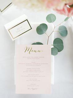Eucalyptus leaves, pink menu, gold calligraphy, white linens, classic elegance, wedding reception // Forage + Film
