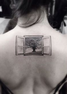 window and oak tree tattoo by Brian Woo