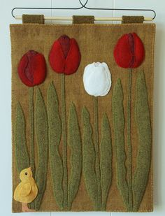 "Items similar to Wool applique PATTERN ""A Peep at the Tulips"" wall hanging table runner tulips baby chick peep hand dyed rug hooking felted wool quilt block on Etsy Felt Embroidery, Felt Applique, Hand Applique, Hand Quilting Patterns, Wool Applique Patterns, Wool Quilts, Donia, Wool Art, Penny Rugs"