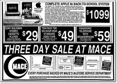50 vintage back-to-school ads from Gold Circle, Uncle Bill's, Burrows and other long-gone stores Apple Iic, Name That Tune, Walk To School, Long Gone, Pencil And Paper, Education Humor, School Shopping, Vintage Ads, School Supplies