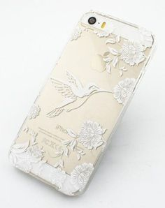 Clear Plastic Case Cover for iPhone 6 Henna Vintage Hummingbird floral flower bird japanese cherry blossom roses