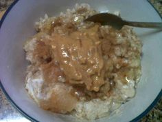 Oat left to sit then mixed with coconut oil, applesauce, banana, greek yogurt & nut butter