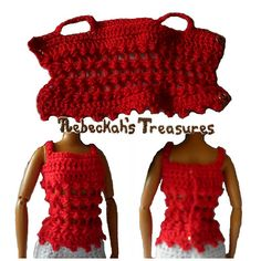 This crochet barbie top is worked from the bottom, up, and then one final edging row is done on the bottom. It uses two snap fasteners in the back.
