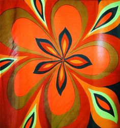 """Vintage Adventure eBay listing ends Nov. 17, 2014. Large vintage Echo square scarf displays a splendid array of autumn colors of dark green, soft apple green, milk chocolate brown, sienna, pumpkin and rust orange. The design, called Nouveau Floral, is retro all the way: mid-century modern, op-art ~ pop-art. Italian pure silk is rich to the touch. Appears to have hand-rolled edges.     Tag states """"Echo, 100% Pure Silk, Made in Italy."""" On scarf, it states """"Nouveau Floral Echo Scarfs, Inc."""" ..."""