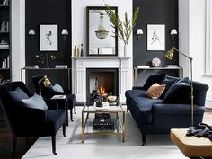 40 classy and cute interior wall design for living room 45 Dark Sofa Living Room, Home Living, Living Room Sets, Living Room Decor, Living Room Modern, Interior Design Living Room, Living Room Designs, Black Living Rooms, Black Living Room Furniture