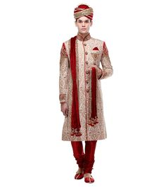Off White & Maroon Embroidered Brocade Silk Sherwani Wedding Sherwani, Indian Ethnic, Off White, Silk, How To Wear, Silk Sarees