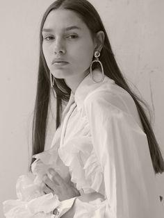 BRAVE MODELS - MILITSA BORISOVA Hoop Earrings, Coat, Model, Jackets, Fashion, Brave, Ruffle Blouse, Moda, Sewing Coat