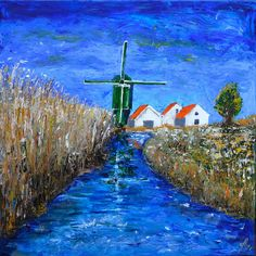 The mill at Tienhoven (NL). Acrylic 70 x 70 cm