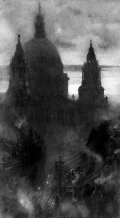 """""""St. Paul's At Dawn"""" by William Hyde c1900 building architechture"""