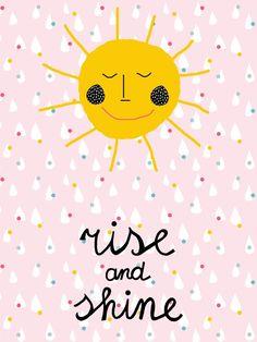 Poster Rise & Shine | Vrolijke & zonnige poster voor op de kinderkamer| Mooikamertje.nl