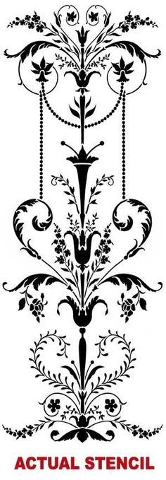 Wall stencil Marie-Antoinette Side Panel SM - Classical stencil with amazing detail - Elegant French Decor Stencils for Painting Walls Cutting Edge Stencils, Stencil Patterns, Stencil Designs, Stencil Decor, Wall Stenciling, Marie Antoinette, Motif Arabesque, Shading Techniques, Free Stencils