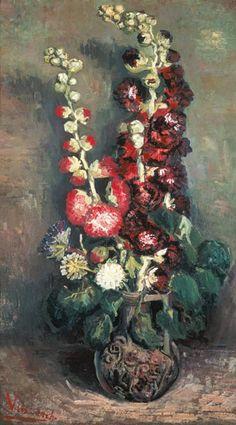 Vincent van Gogh-Vase avec des roses mauves