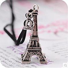 largo collar de la torre Eiffel de la corona de la cuerda de cuero que restaura maneras antiguas