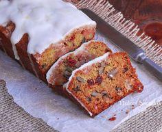 Orange glazed cranberry loaf cake - Cake de arándanos con glaseado de naranja