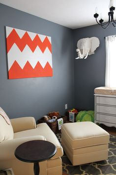Obsessed with the elephant wall art... #OhBaby