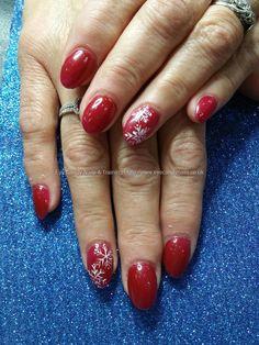 Red eye to shanghai gel polish with snowflake Christmas nail art