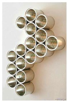 DIY Tin Can Wall Organizer (What to do with all the empty formula cans. Diy Upcycled Wall Art, Upcycled Crafts, Diy Crafts, Recycled Cans, Diy Art, Tin Can Crafts, Arts And Crafts, Coffee Can Crafts, Crafts With Tin Cans